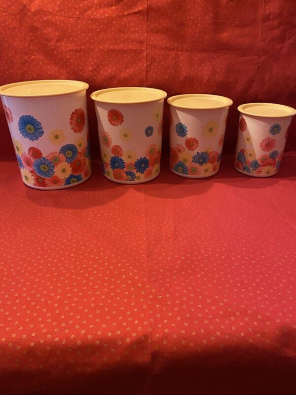 Spring Floral Tupperware Nesting Canister Set With Locking Lids Daisies