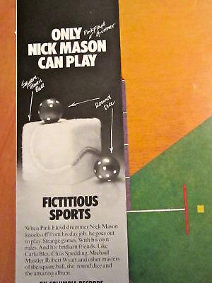 NICK MASON FICTITIOUS SPORTS Album Ad music magazine PINK FLOYD Robert Wyatt '81