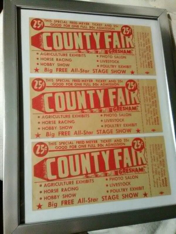 3 Rare Vintage 1930s County Fair Fred Meyer Admission Tickets Gresham OR Unused