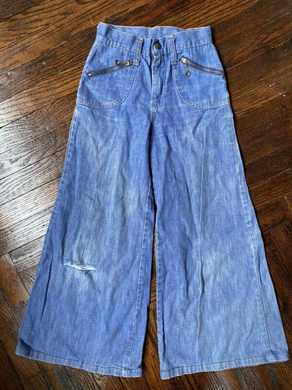 Vintage 70s Kids Girls Bell Bottom Wide Leg Flare Denim Jeans Distressed  8