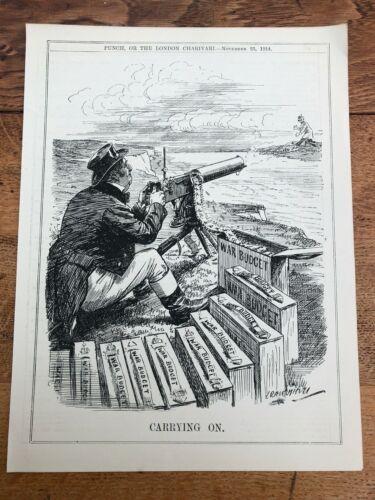 "1914 cartoon print "" john bull and his vickers machine gun "" carry on !"