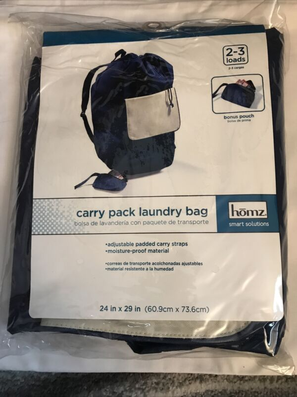"""NEW HOMZ Carry Pack Laundry Bag, 24"""" x 29"""", Blue + Pouch"""