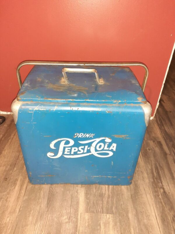 Vintage blue white Pepsi Cola 1940s or 1950s cooler