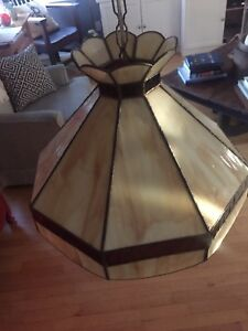 Hanging stained glass light fixture
