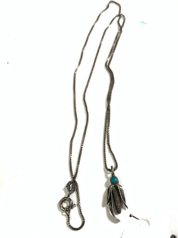 Vintage Sterling Silver Southwest Turquoise Corn Pendant Necklace