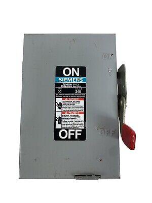 Siemens Gf221n Safety Switch Disconnect 30 Amp 2 Pole 240 Volt