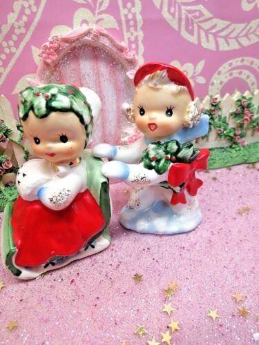 Vtg Lefton Christmas Holly Berry Boy W RED CAP Pushing Girl W MUFF on Sled S&P
