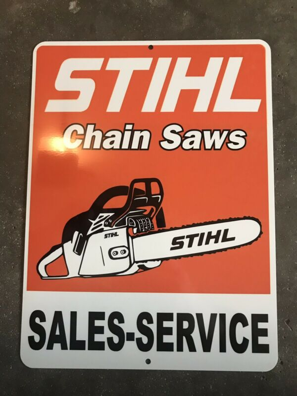 Stihl Chainsaw Sign Stainless Steel Metal Dealer Gas Coal Orange Finish Axe!