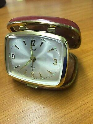 Vintage Coral folding travel alarm clock
