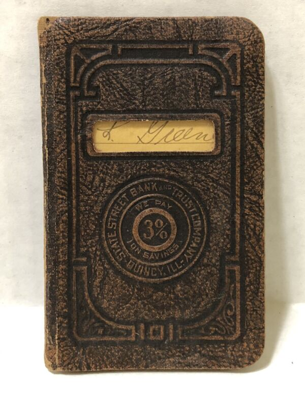 Antique 1927 State Street Bank and Trust - QUINCY ILLINOIS - Deposit Book