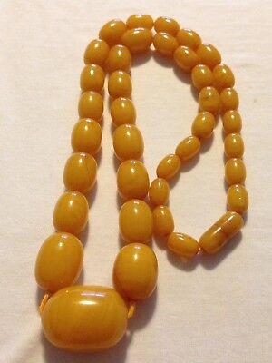"Vtg Art Deco Butterscotch Amber Bakelite Bead Graduated Necklace 87 Grams 27"""