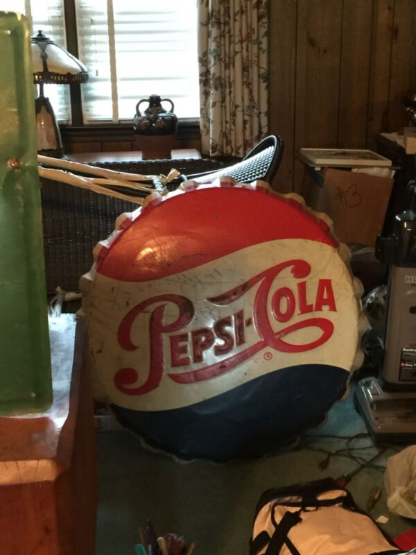 Vintage Embossed Pepsi Cola Bottle Cap Sign Stout > Antique Pepsi Soda 9953