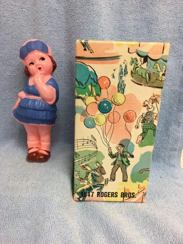 Vintage Molded Celluloid Plastic Hand Painted Goggly Doll & 1847 Rogers Bros Box