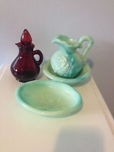 Retro Avon pitcher, tray and bottle collection