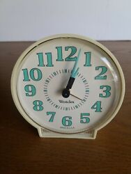 Vintage Westclox Wind-Up Alarm Clock Cream with Blue Numbers No Batteries USA