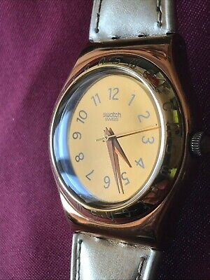 Wristwatch SWATCH Irony KINGDOM (YLG111)-Perfect Condition! Leather-Gold-L@@K
