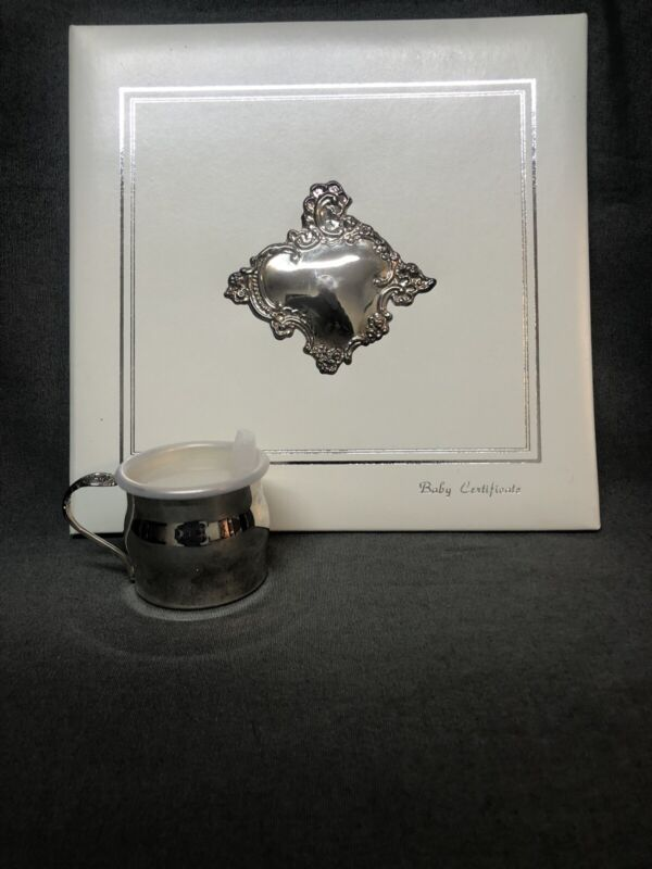 Vintage Birth Certificate Holder And Silver Colored Baby Cup. GREAT BABY GIFT