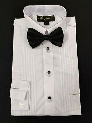 boys tuxedo shirt with matching black bow tie french plackets and button - Boys Tuxedo Shirt And Bow Tie