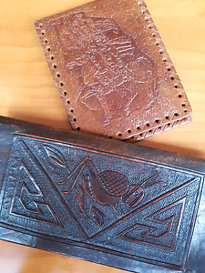 2x handtooled leather wallets grasshopper vintage Downer North Canberra Preview
