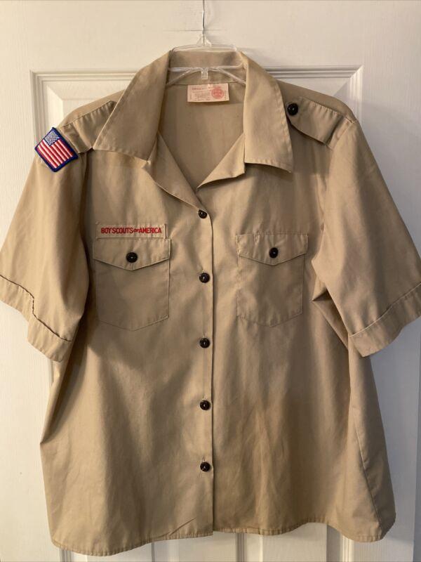 Boy Scout BSA UNIFORM SHIRT Women's Ladies Medium Shirt 38-40 Short Slv Tan G40