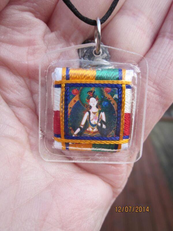 TIBETAN BUDDHIST HEALING WHITE TARA LONG LIFE SERENITY AMULET PENDANT BLACK CORD