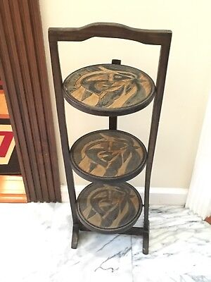 Vtg Handmade Three Tier Wood Serving Tray Plant Holder Fish Carved Folding Table