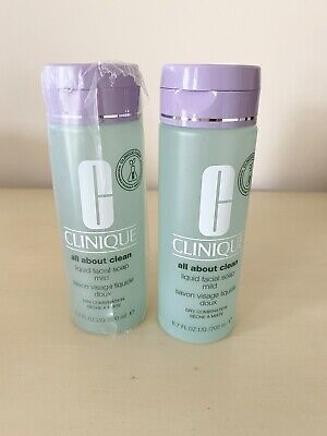 Clinique All About Clean Liquid Facial Soap X2 NEW 200ml Skin Type...