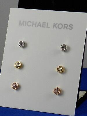 Michael Kors POLISHED PLATINGS Pave' Hexagon Stud Earrings 3 Pair Set MKJ6708