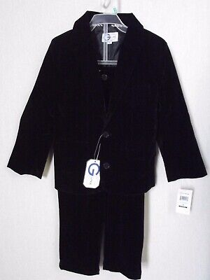 Little Boys Sz 5 BLACK VELVET SUIT pants lined blazer jacket wedding ring - Boys Velvet Suit