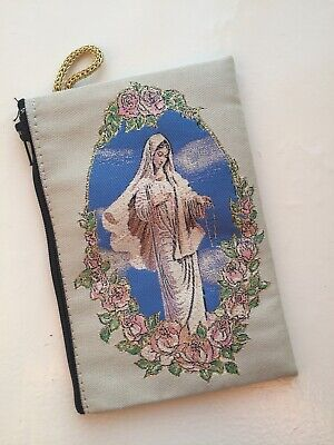 Icon of Lady of Grace Virgin Mary Madonna Tapestry Bag, Zippered Purse