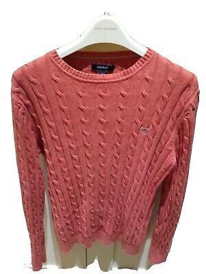 GANT Cable Knit Cotton Jumper Sweater Salmon / Coral Men's Medium