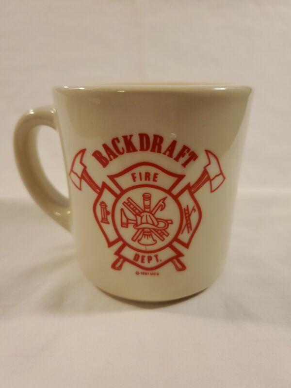 1991 Backdraft Fire Department White Diner Coffee Mug