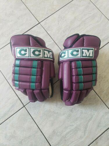 "14"" CCM 852 Ducks retro pro stock hockey gloves, eggplant/teal"