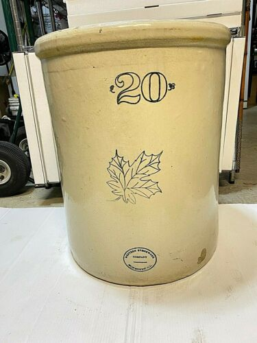 LARGE ANTIQUE WESTERN STONEWARE Co. # 20 GALLON CROCK MONMOUTH ILL.