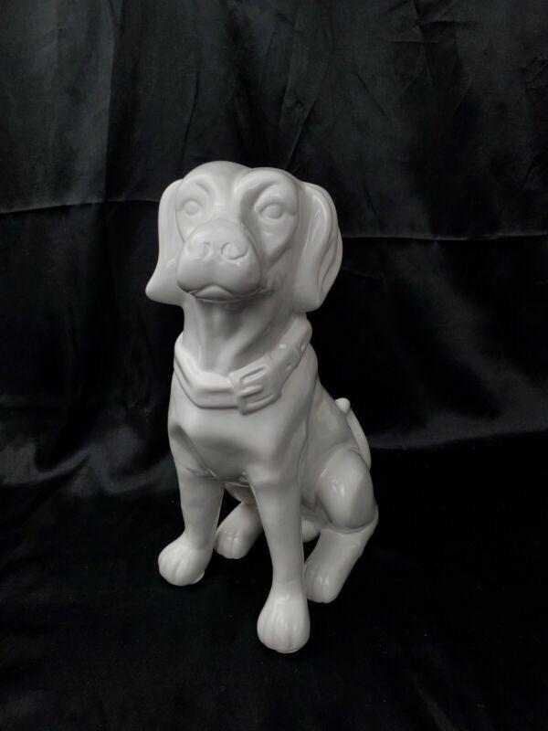 "12"" H Large Sitting White BOY Dog Porcelain Figurine Japan?"