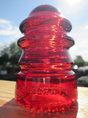 Vintage Hemingray 12 Garnet Red Glass Insulator Colored / Stained CD 113
