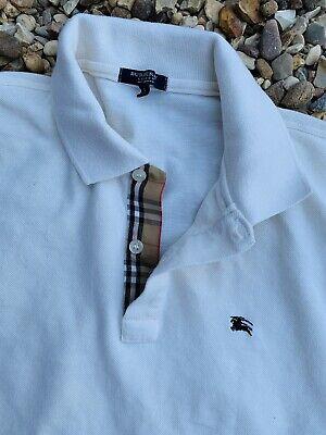 Mens Burberry London Polo Shirt Ivory/ Cream Size L Large