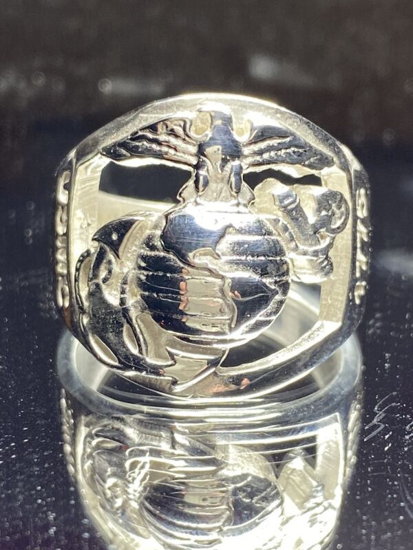 Marine Corp Design Used Restored/RePolished  Sterling Silver 925 US MC SZ 10-14