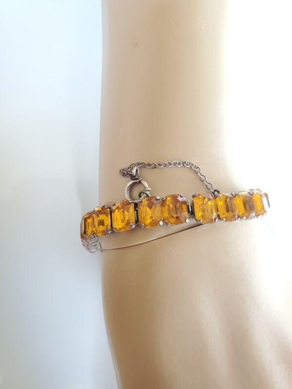 Victorian Sterling Silver 925 Citrine Crystal Tennis Chain Bracelet Bangle