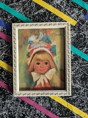 Vintage 60s 70s Cute Kitsch Soulet Girl Print