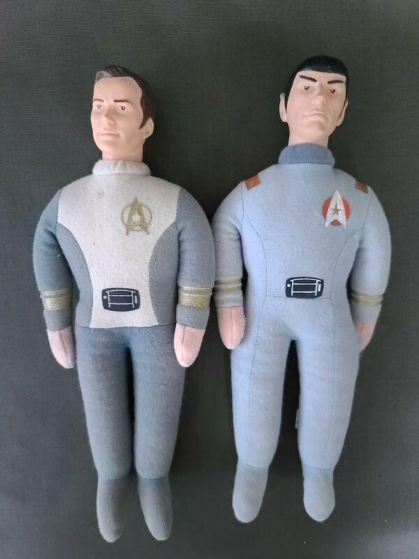 "Vintage 1979 Star Trek 13"" Mr Spock AND  Captain Kirk Knickerbocker Plush Doll"