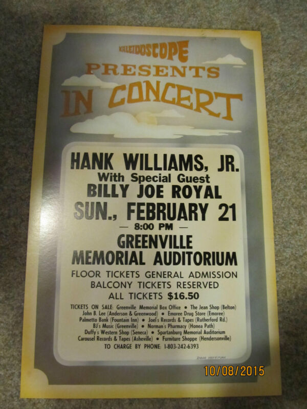 Hank Williams Jr Billy Joe Royal 1988 Greenville, SC concert poster window card