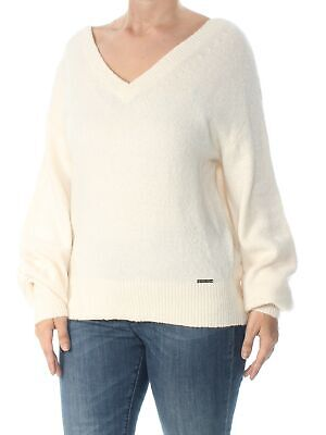 MICHAEL KORS Womens New 1131 Ivory V Neck Long Sleeve Casual Sweater L B+B