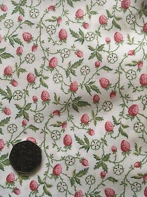 Vintage Laura Ashley Strawberry Red Pink Green Cotton Fabric Remnant Craft