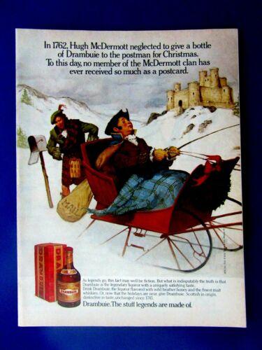 "Hugh McDermott & Postman 1988 Red Bottle Drambuie Original Print Ad 8.5 x 11"""