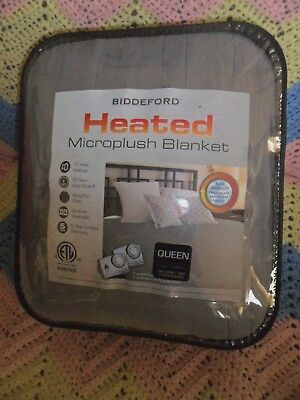 Biddeford Electric Heated  Micro Plush Gray Queen Blanket  Analog Control
