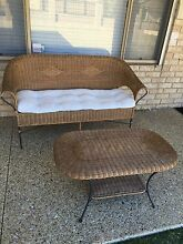 Outdoor Cane/ Natural Wicker couch & Coffee Table Winthrop Melville Area Preview