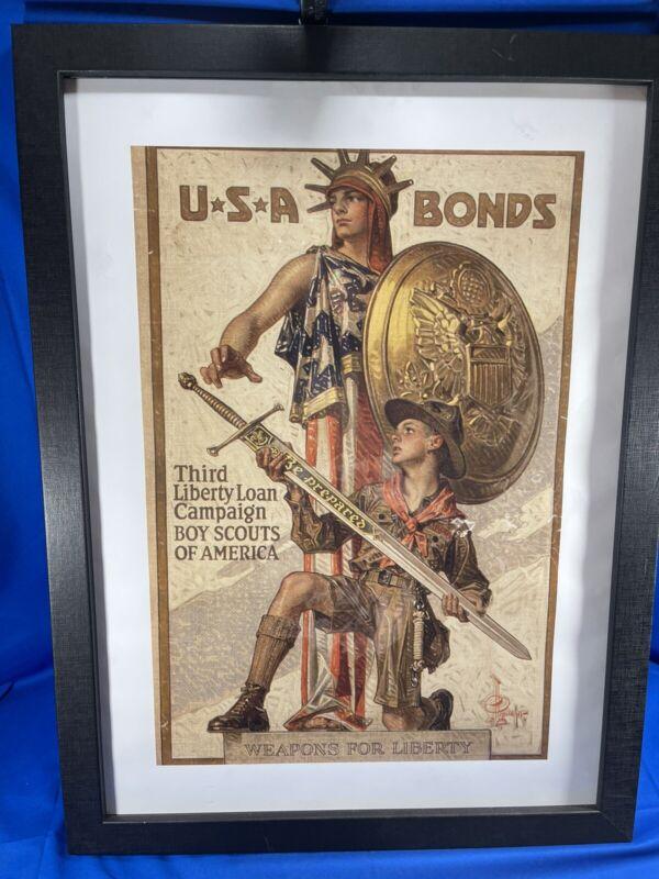 WW1 Third Liberty Loan Poster Weapons for Liberty 19.5X26 Boy Scouts USA Bonds
