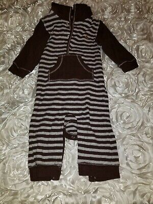 Baby Gap Boys Brown Striped Thermal One Piece Hoodie Size 6-12M - Baby Thermal Hoodie