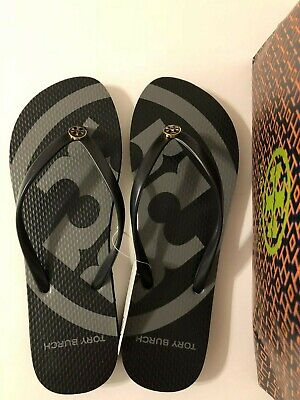 NWT TORY BURCH Black Emory Flip Flop Sandals Shoes Size 9